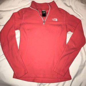 Pink North Face 1/4 zip fleece